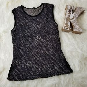 ZARA Night out Fishnet sleeveless Top Black Gold M